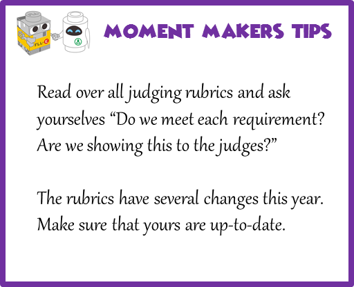 "Read over all judging rubrics and ask yourselves ""Do we meet each requirement? Are we showing this to the judges?"" The rubrics have several changes this year. Make sure that yours are up-to-date."