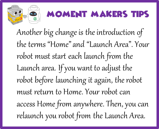 "Another big change is the introduction of the terms ""Home"" and ""Launch Area"". Your robot must start each launch from the Launch area. If you want to adjust the robot before launching it again, the robot must return to Home. Your robot can access Home from anywhere. Then, you can relaunch you robot from the Launch Area."